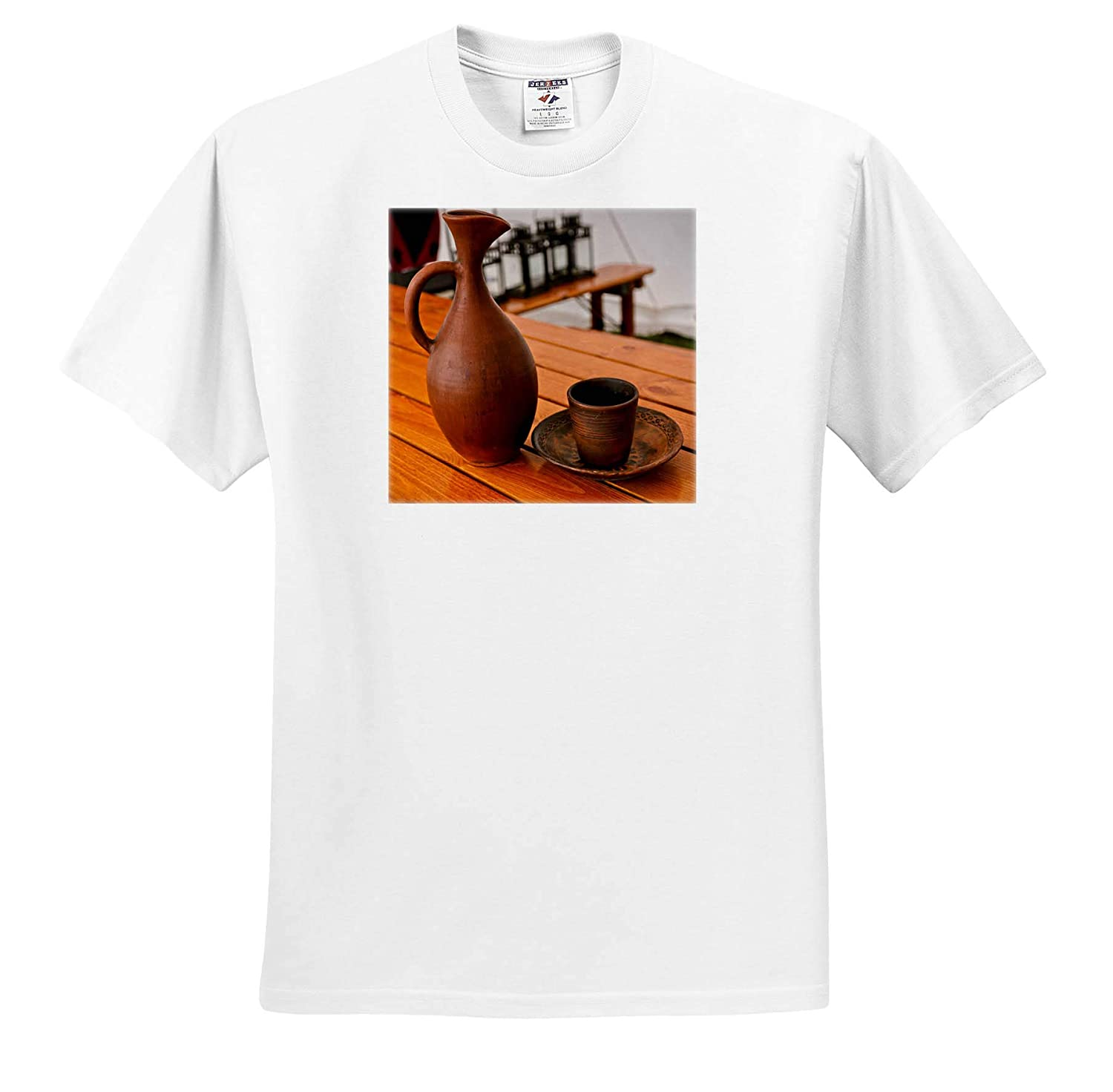 3dRose Alexis Photography A Decorative Earthenware Pitcher and a Ceramic Mug on a Table Still-Life T-Shirts