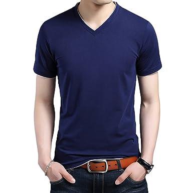 0b0e00754ae37 Yiiquan Homme T-Shirts Tops à Col V Manches Courtes Chemise Saison D ...