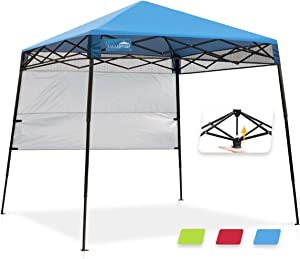 EAGLE PEAK Day Tripper 8' x 8' Slant Leg Lightweight Compact Portable Canopy w/Backpack Easy One Person Set-up Folding Shelter and 36 Square Feet of Shade (Blue)