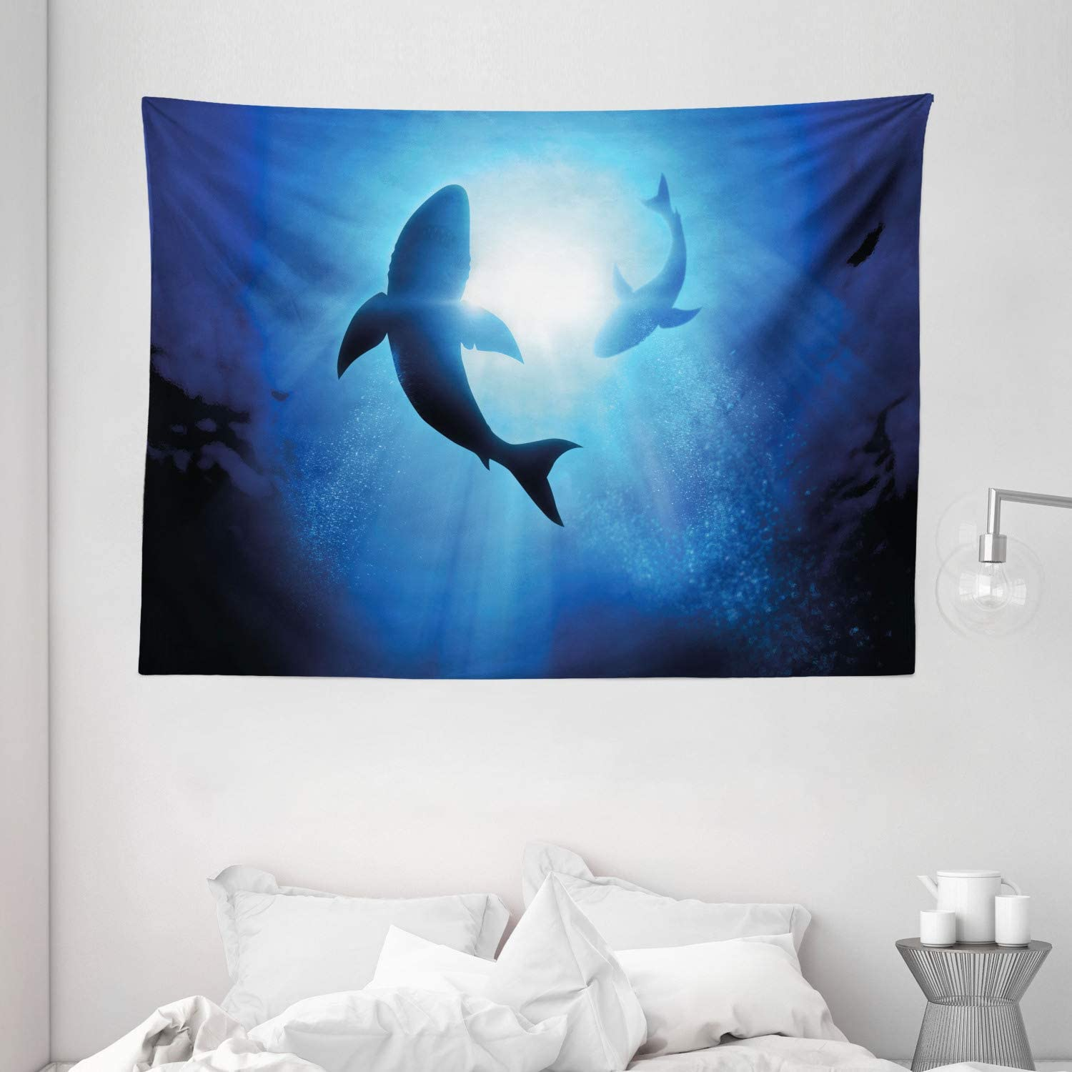 Ambesonne Shark Tapestry, Underwater World with Fish Silhouettes Circling in The Sea Surreal Ocean Life Print, Wall Hanging for Bedroom Living Room Dorm, 80 W X 60 L Inches, Royal Blue