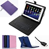 """Felji Purple Leather Case Cover for Android Tablet 7"""" Universal w/ USB Keyboard"""