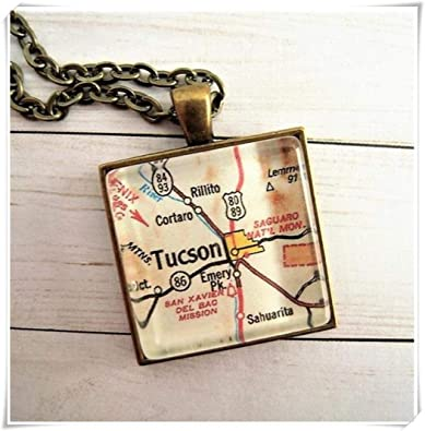 Map Of The University Of Arizona.A Little Little Love Custom Map Jewelry Tucson University Of Arizona Map Pendant Vintage Map Pendant Necklace Personalize Map Jewelry