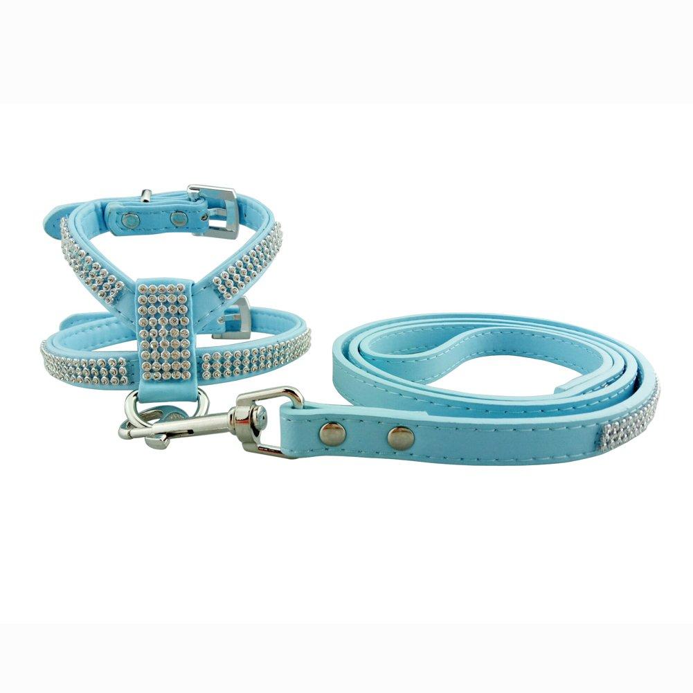 bluee M bluee M PETCARE Dog Harness & Leash Sparkly Rhinestone PU Leather Rhinestones Studded Glitter Personalized (M, bluee)