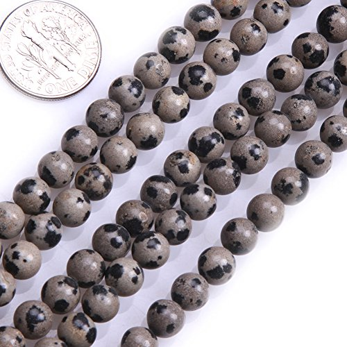 - GEM-inside Dalmation Dalmatian Jasper Gemstone Loose Beads 6MM Round Crystal Energy Stone Power For Jewelry Making 15