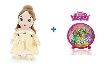 Peluche princesa Disney BELLA 30 cm + Reloj despertador PRINCESAS DISNEY.