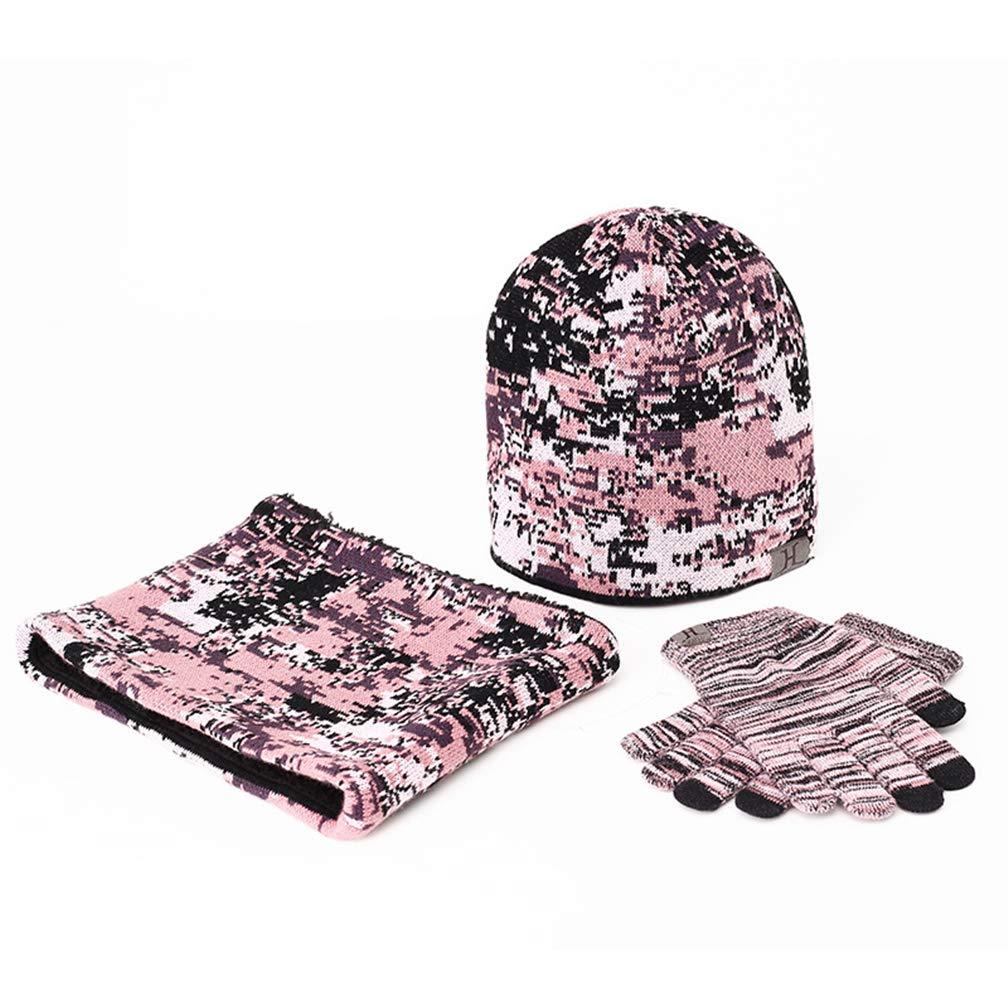 Queta Winter Camouflage Plus Velvet Scarf Hat Gloves Three-piece Set Fashion Warm Gift