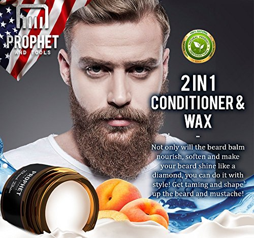 2 IN 1 Quality White Beard Balm Wax 60g Citrus Oil Scent Leave In Conditioner Softens Hold And Beard Growth Organic For Men FREE Beard Care Ebook Guide Included Prophet And Tools