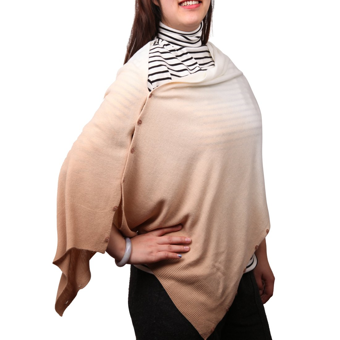 MissShorthair Gradient Wrap Scarf Shawl with Buttons,Versatile Sweater Cardigan for Women