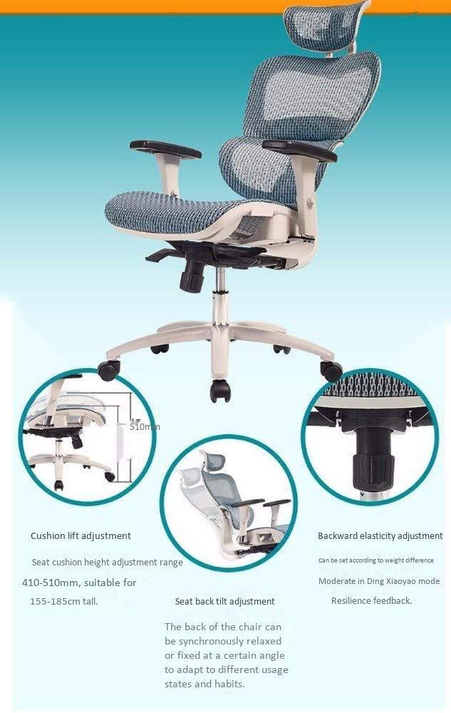 ZXL Mesh kontorsstol, ergonomisk skrivbordsstol, svängbar kontorskontorskontorskontorsstol, verkställande hög ryggstol, justerbar hemstol med hjul, svart rosa