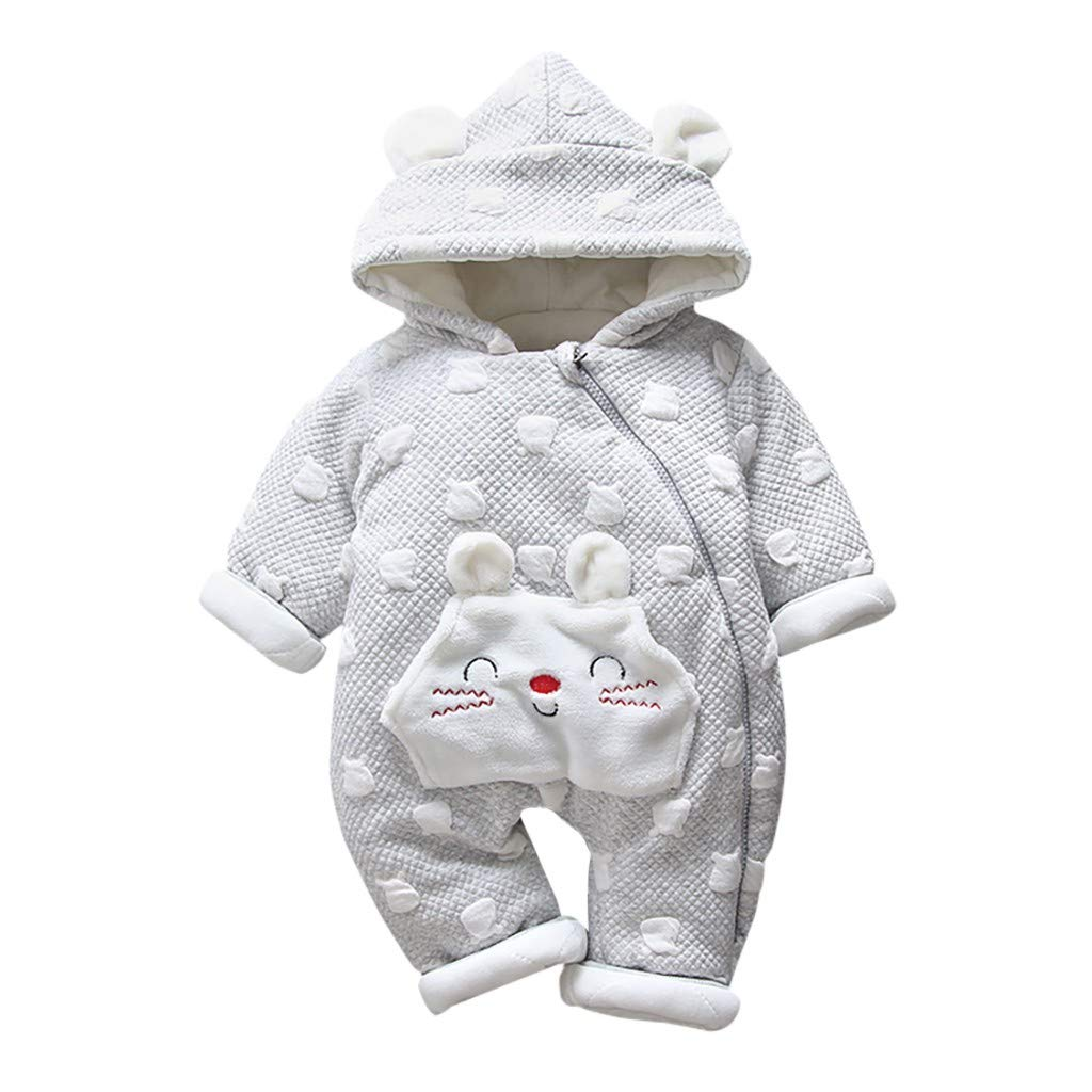 Wenini Newborn Toddler Baby Boys Girls Cute Cartoon Hooded Romper Jumpsuit Thickened Outfits Clothes by Wenini