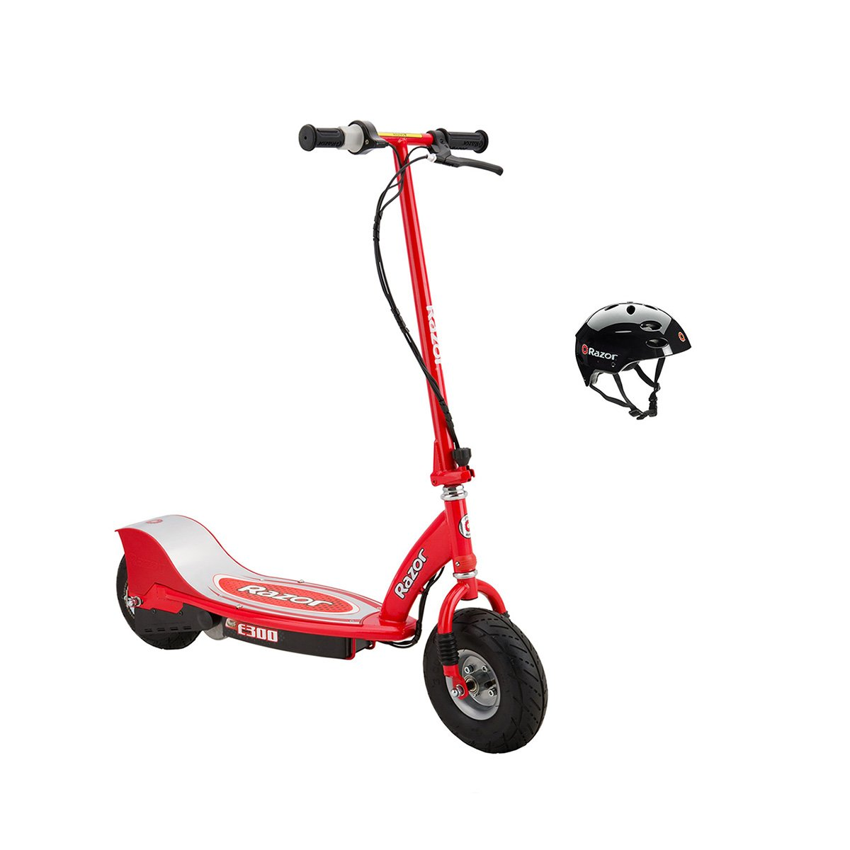 Razor E300 24V Rechargeable Electric Motorized Red Scooter + V17 Youth Helmet