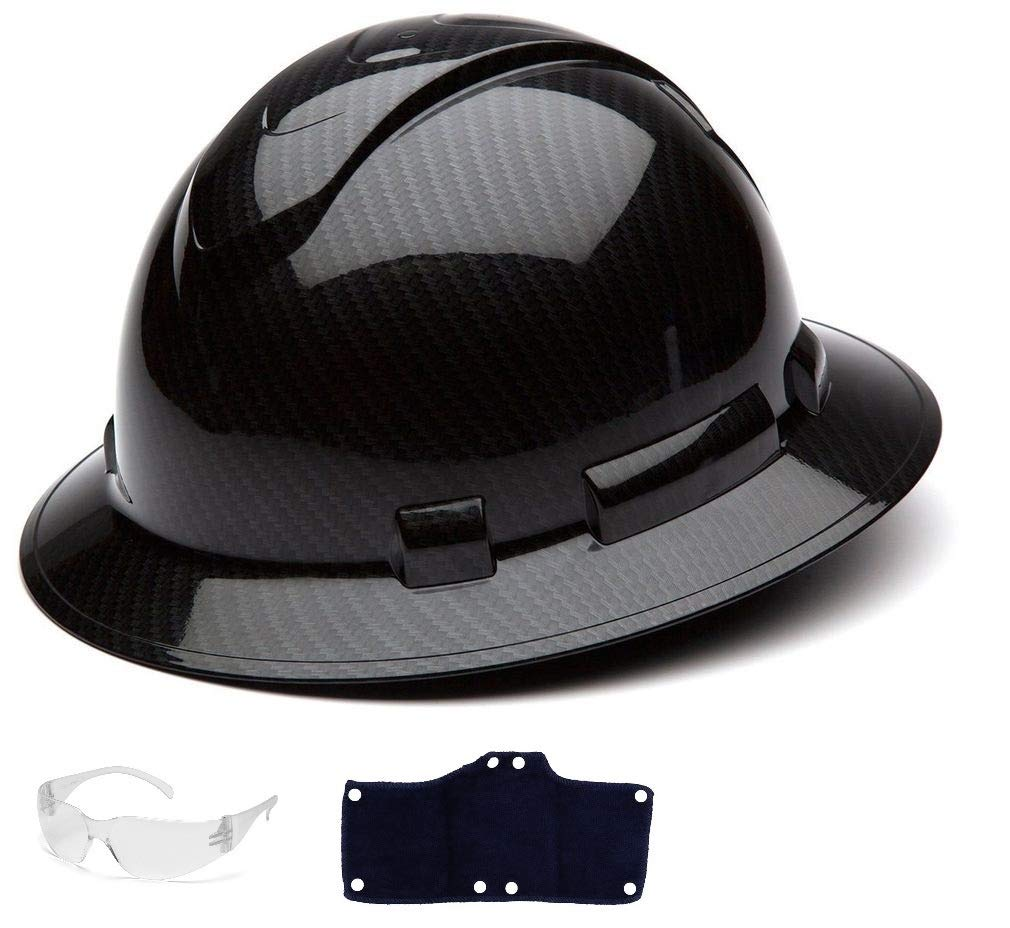 Pyramex Full Brim Hard Hat with Standard Ratchet Suspension Color Shiny Black by Pyramex (Image #1)