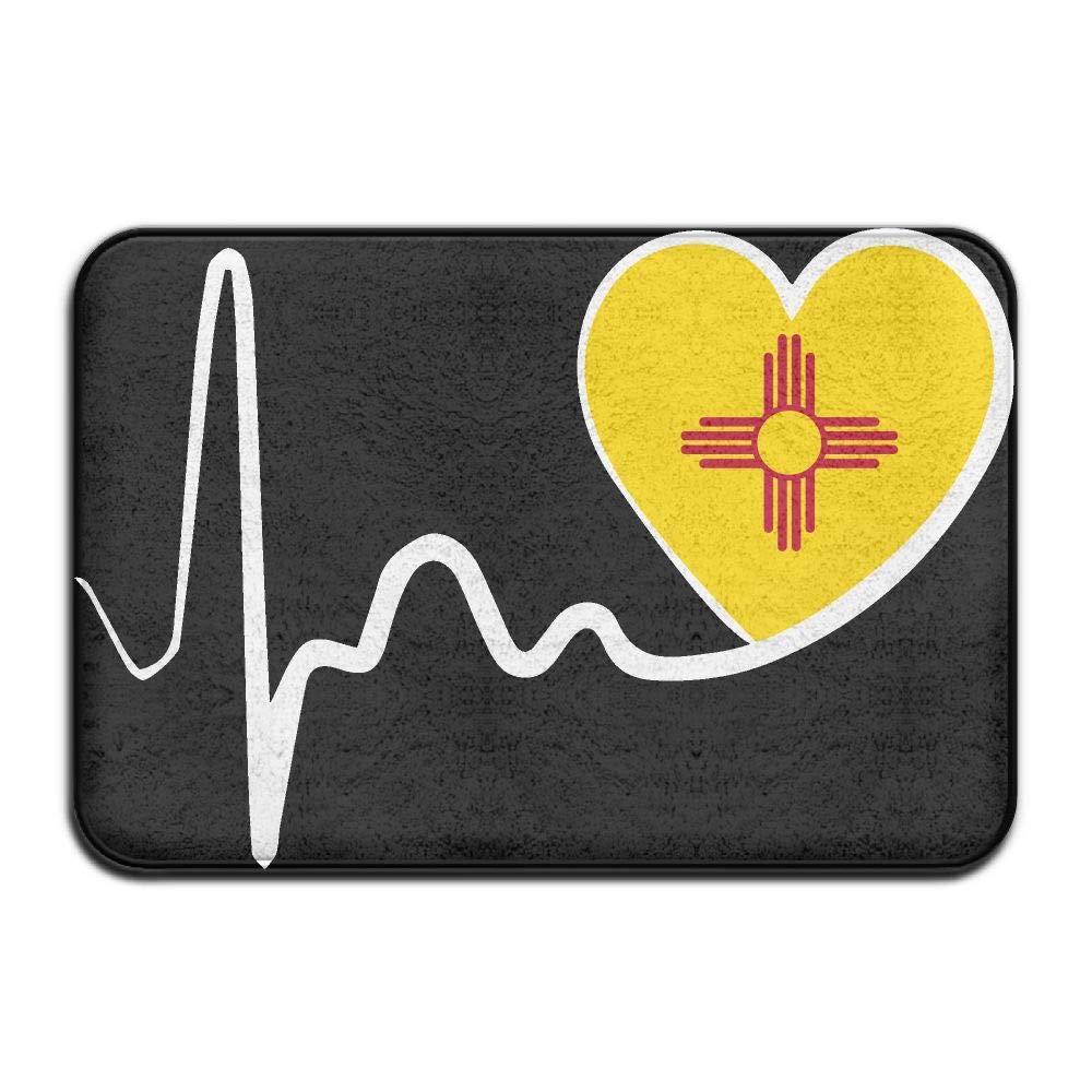 New Mexico Flag Heartbeat-1 Indoor Outdoor Entrance Rug Non Slip Bath Rugs Doormat Rugs Home