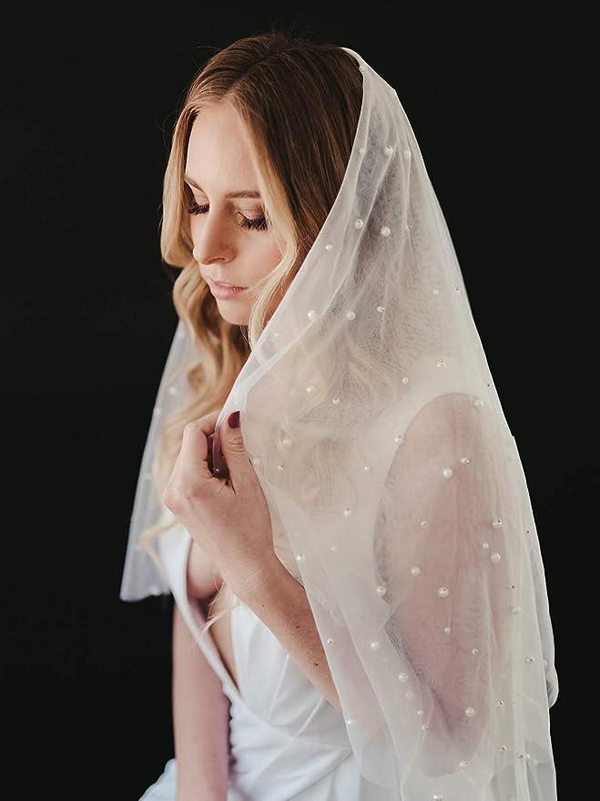 Bridal Veil*30/'/'//36/'/'//42/'/'//3 Tier*Fingertip length*Cut Edge*Pearl /& Rhinestone*