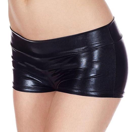 8858cc9c2 Makaor Women Metallic Style Dance Shorts PU Leather Light Underwear  Lingerie Panties (Black