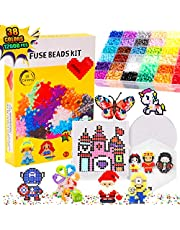 Bachmore Fuse Beads Craft Kit Melty Fusion Colored Beads- 12,000pcs 38 Colors Pearler Craft Sets for Kids Including 7 Pegboards,Booklet Chain Accessories Activity Gift Toy For Boys and Girls Age 5 6 7