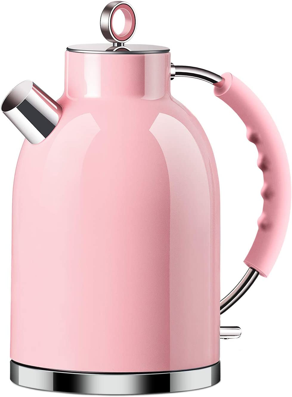 Electric Kettle, ASCOT Stainless Steel Electric Tea Kettle, 1.7QT, 1500W, BPA-Free, Cordless, Automatic Shutoff, Fast Boiling Water Heater - Pink