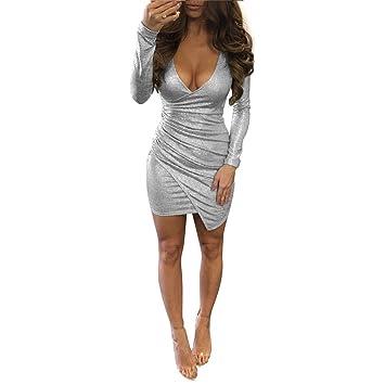 Reparación noche Vestido de manga larga falda de color blanco-plateado ,S