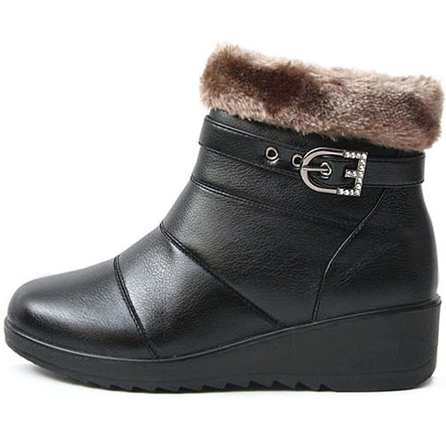 3c668f8fb61 lovely New Womens Comfort Low Heels Winter Snow Warm Side Zip Ankle Boots  Black