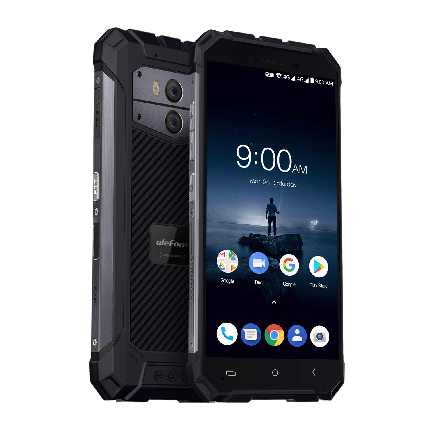 Ulefone Armor X, 4G Outdoor Smartphone Libre(2018) Android 8.1, IP68 Resistente a Polvo y Agua, 5500mAh, Carga Inalámbrica, Pantalla Grande 5.5'' 18:9, 2GB+16GB, QuadCore, Doble SIM, NFC (Gris Oscuro)