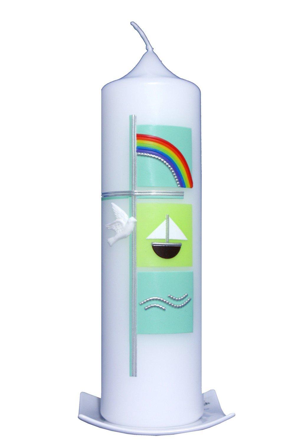 Taufkerze Maritim 25x7cm pastellgrün, wird NUR auf Kundenwunsch für Sie gefertigt. Bei uns bekommen sie keine Massenware. Den Beschriftungswunsch (Vorname und ein Datum ) bitte an: info@artecera.com Arte cera TK250249