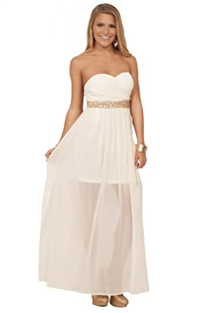 Juniors Sequin Strapless Sleeveless Chiffon Formal Overlay Long Maxi Dress