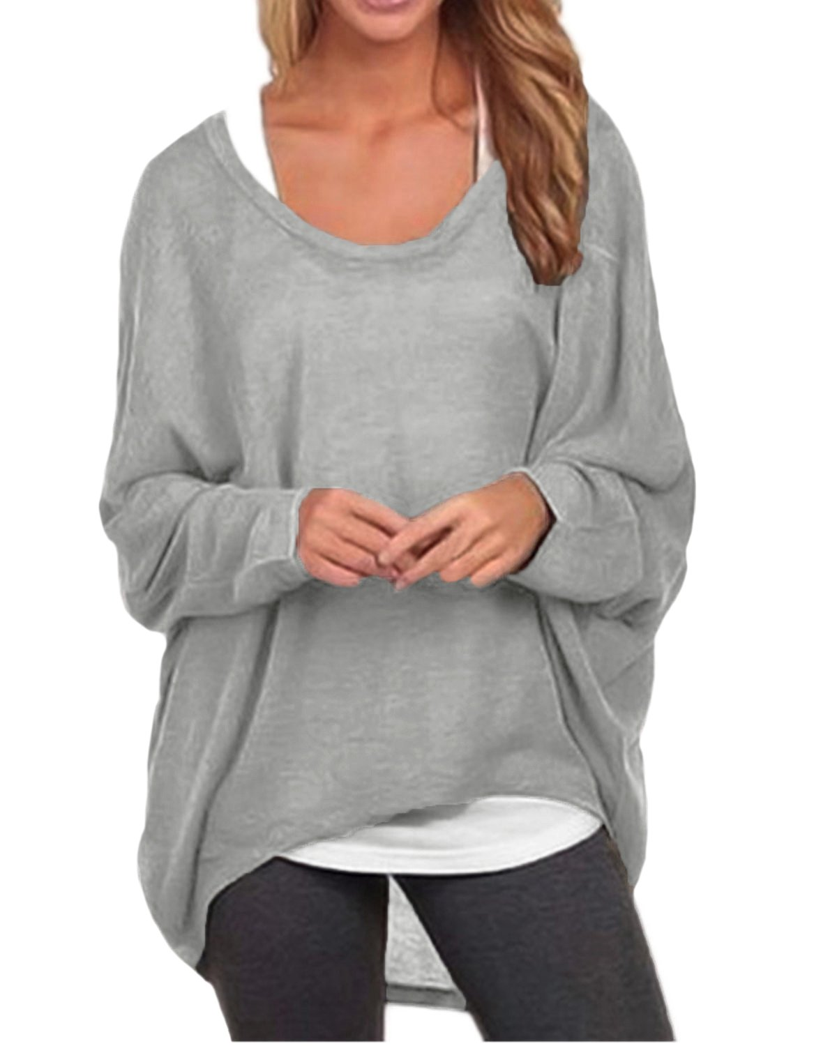 ZANZEA Women's Long Batwing Sleeve Loose Oversize Pullover Sweater Top Blouse Gray US 16/Tag Size 3XL