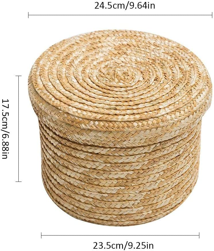 isilky Wheat Woven Yarn Storage Basket with Lid Round Wardrobe Desktop Finishing Basket for Snack Small Toy