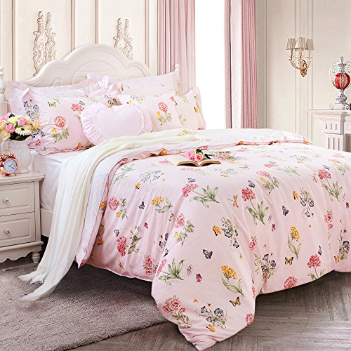 FADFAY Butterfly Print Duvet Covers Pink Floral Cotton Girls Bedding Set 3 Pieces, 1duvet Cover & 2pillowcases (Twin Size, Simple (Pink Floral Bedding)