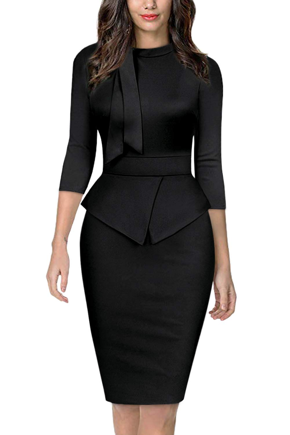 Moyabo Women's Tie Neck Vintage Bodycon Peplum Business Formal Work Pencil Dress
