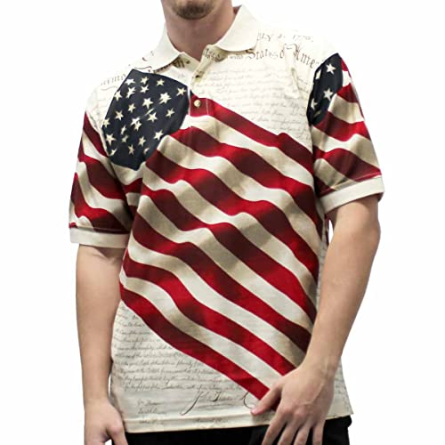 Cotton Traders Allover Patriotic Mens Polo Shirt