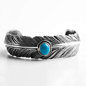 Plume Bracelet Ouvert Turquoise S925 Argent En Style erxoBCdW