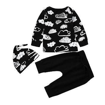 Hosen und Hut 3-tlg. Säugling Neugeborenes Baby Mädchen Junge T-Shirt Tops