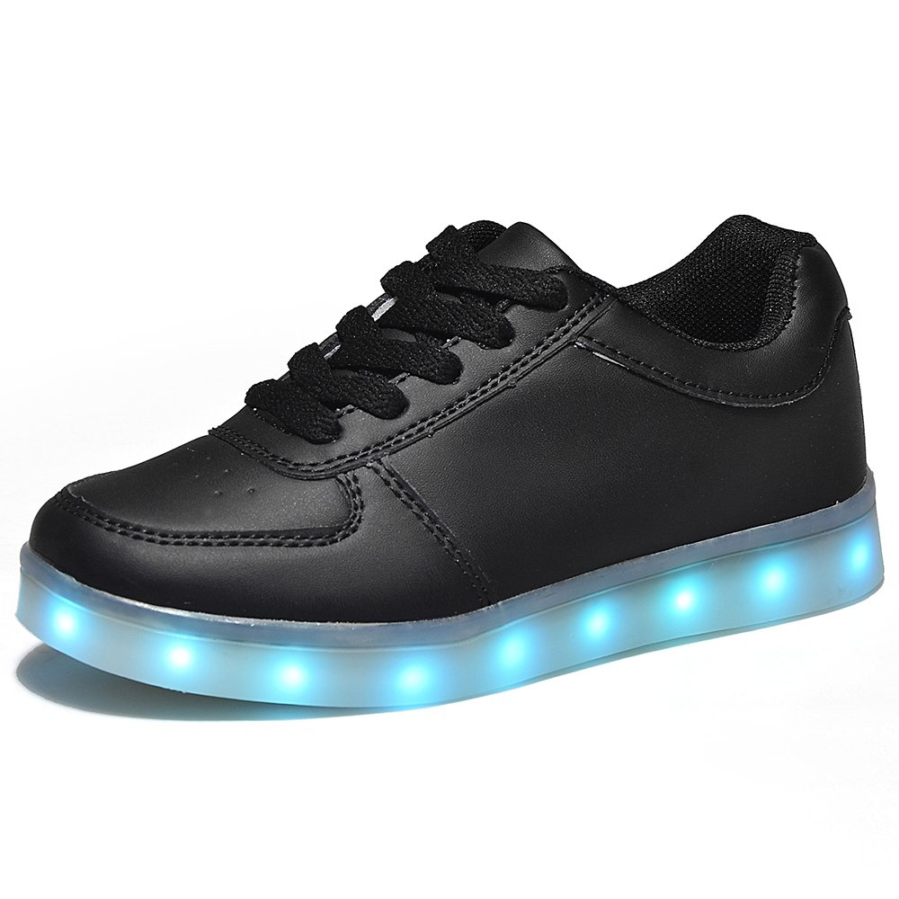HOOSION Led Light up Shoes for Little Kid/Big Kid USB Rechargeable Sports Dancing Black Sneakers