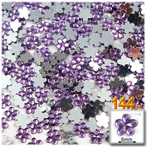 The Crafts Outlet 144-Piece Acrylic Aluminum Foil Flat Back Flower Rhinestones, 4mm by 6mm, Lavender/Light ()