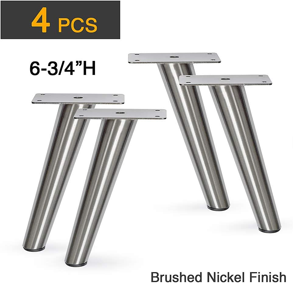 "6-3/4""H Slant Furniture Metal Legs - Set of 4 New (Brushed Nickel)"
