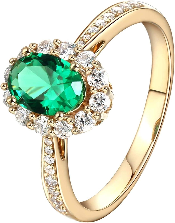 Beydodo Anillo Oro Amarillo 18 Kilates(750) Mujer Halo Oval Esmeralda Verde Blanca 0.48ct 0.85ct 1.35ct