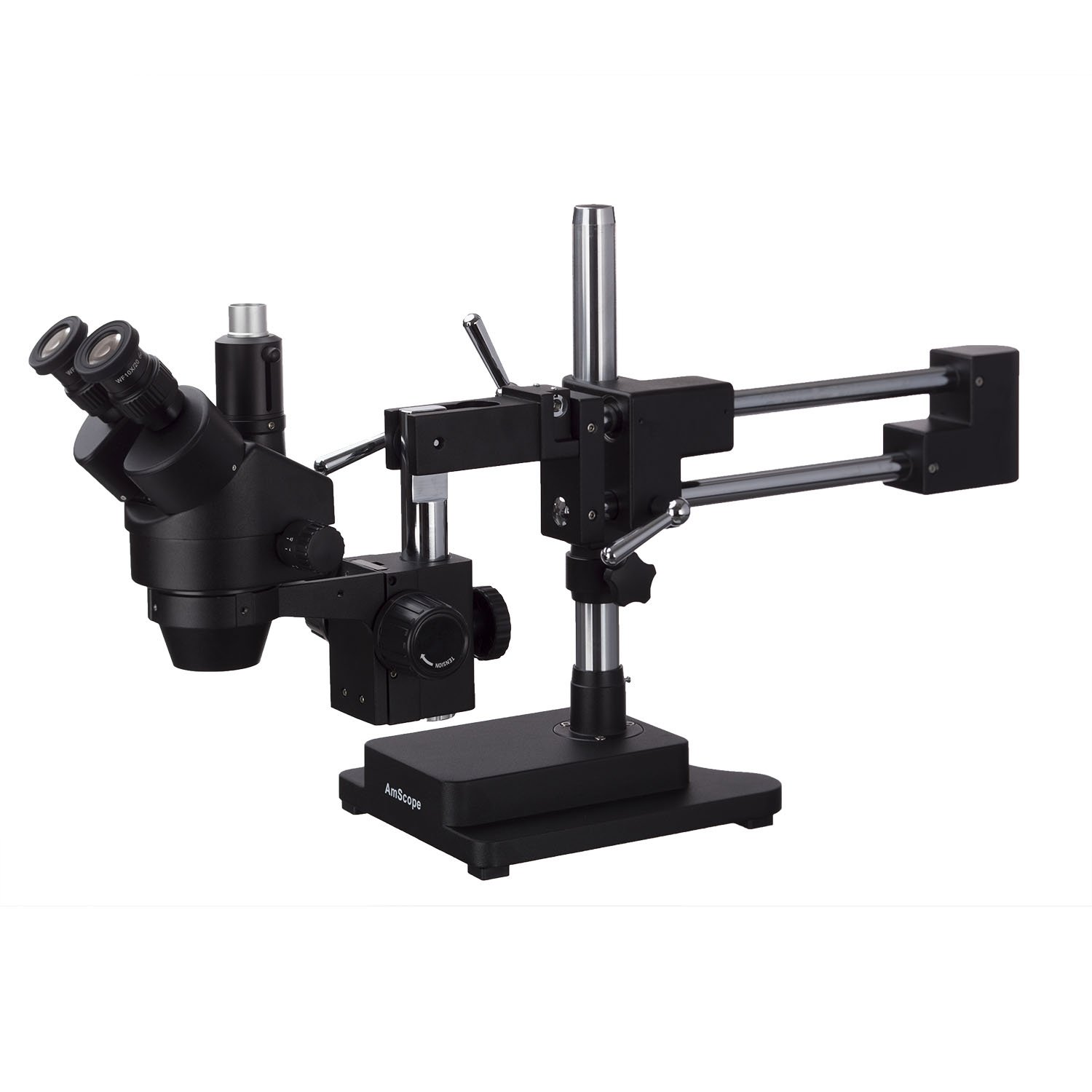 Image of AmScope 3.5X-180X Trinocular Stereo Zoom Microscope with Black Double Arm Boom Stand
