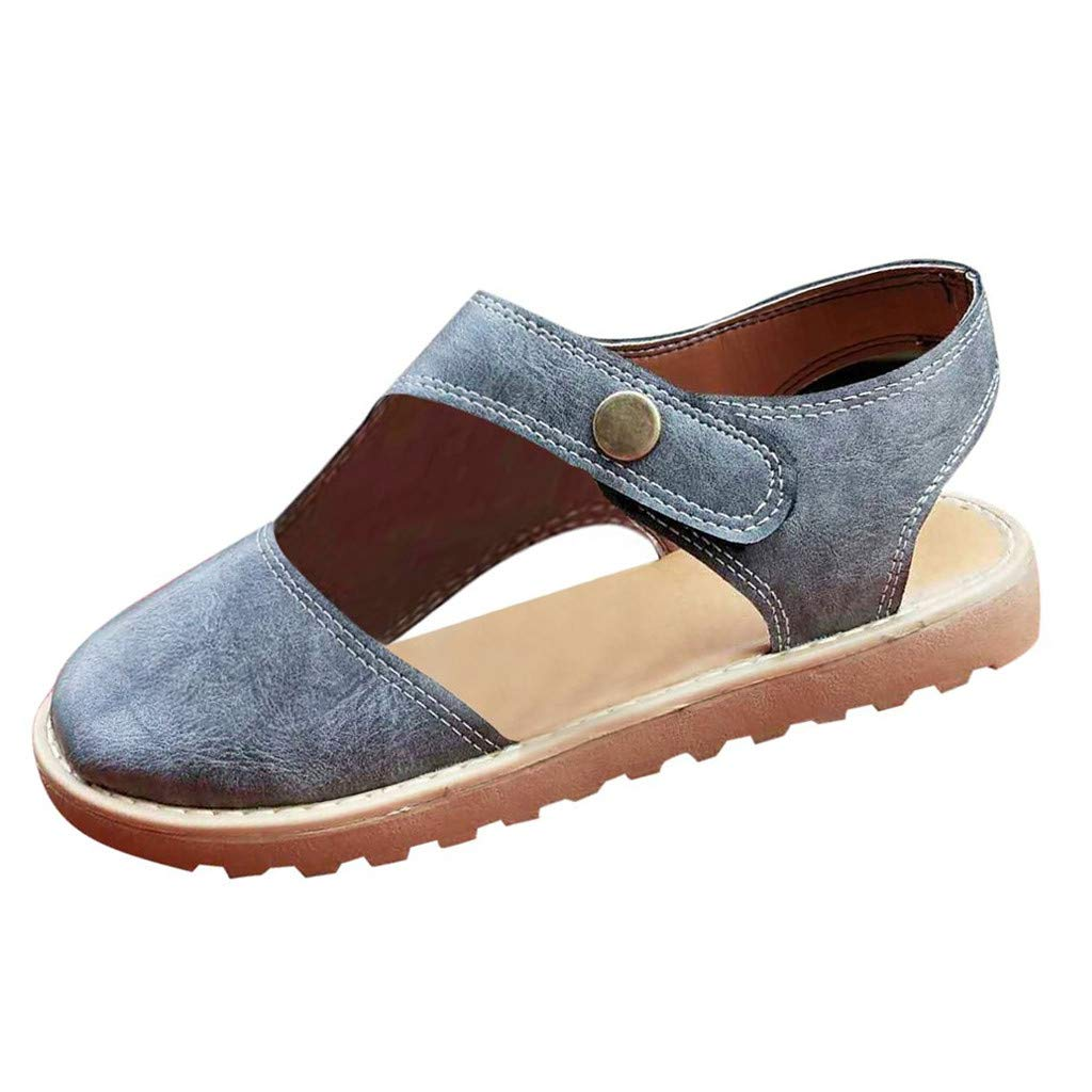 〓COOlCCI〓Women Retro Round Toe Sandals Sling Back Hook & Loop Sandals Flats Breathable Leather Shoes Flat Gray