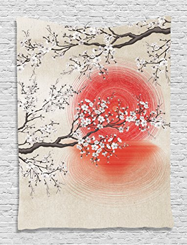 Ambesonne Cherry Blossom Sakura Branches Japanese Sun and Reflection Shadow Design Patterns Cream Pearl Wall Decor Living Room Bedroom Tapestry Wall Hanging, Beige Brown Red ()