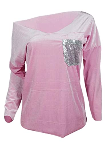 Aivosen Moda Blusa Mujeres Manga Larga De Cuello En V Patchwork Lentejuelas Bolsillo Camiseta Moda C...