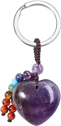 Macrame with Crystal Bead Macrame Keychain with Bead Amethyst Rose Quartz Aventurine Sodalite Crystal Keychain Macrame Keychain Clip