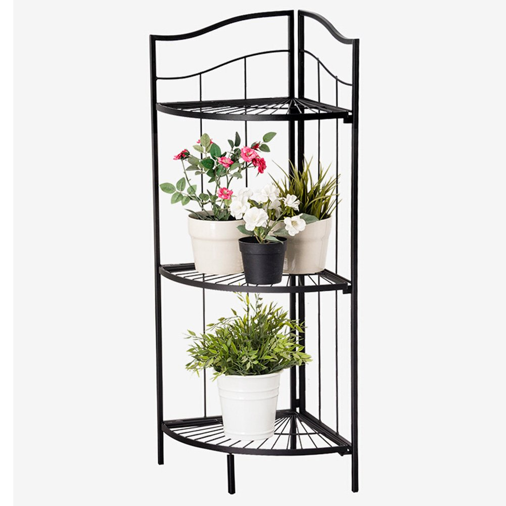 LIANGLIANG Iron Corner Flower Rack Pot Shelf Plant Ladder Floor Display Stand Metal 3-Tier Folding Indoor Living Room Balcony Black, 41.63285.7cm