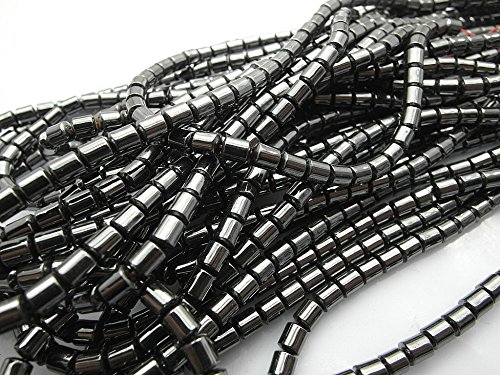 jennysun2010 Grade AAA Healing Natural Magnetic Hematite 8x8mm Drum Gemstone 15.5 Inches Beads 1 Strand for Bracelet Necklace Earrings Jewelry Making Crafts Design Healing ()
