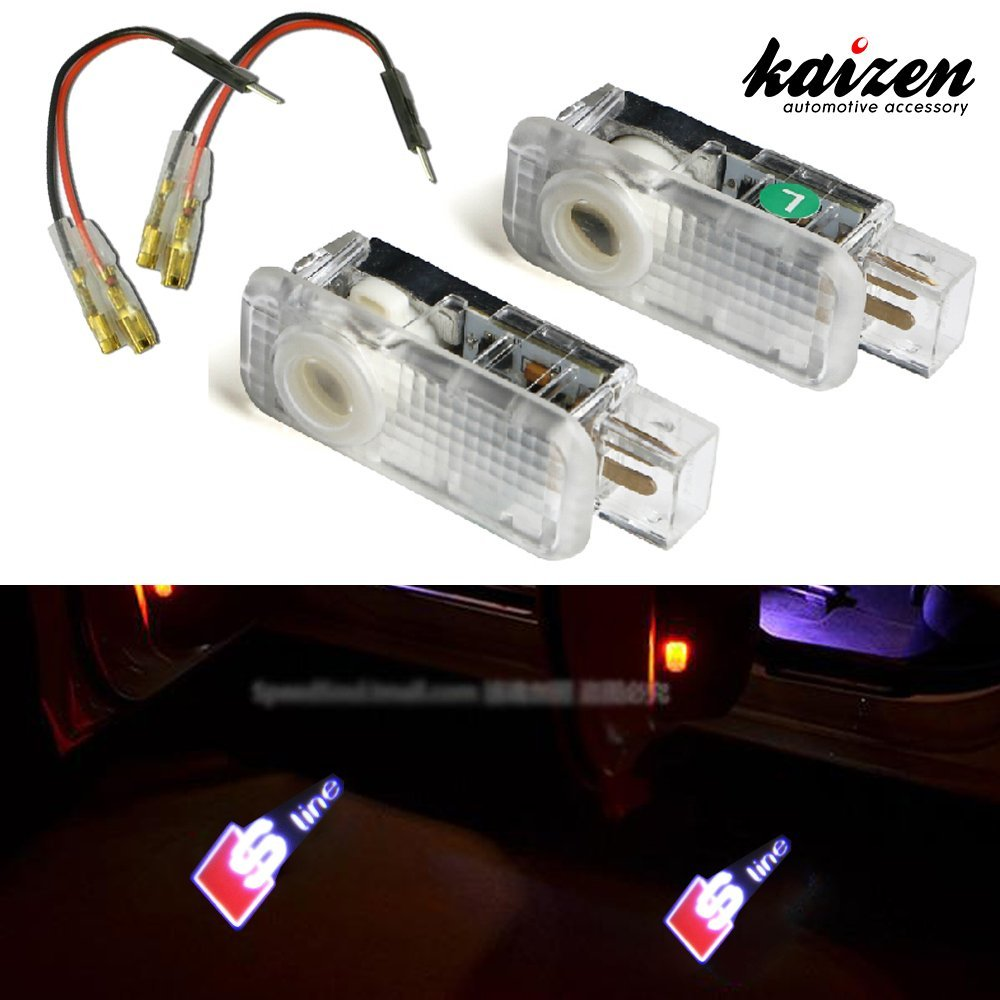 Kaizen 2 Pcs OEM Fit Super Bright LED Laser Ghost Shadow CREE Door Step Courtesy Welcome Light Lamps For Audi A4 A6 R8 Q3 CAN-bus No Error Logo S Line
