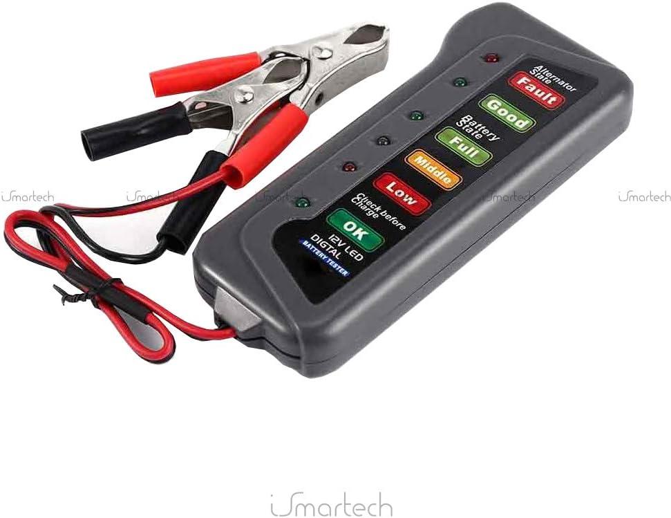 QX3012 Portable 12 Volts LED Num/érique Batterie//Alternateur Testeur Batterie de voiture avec pinces et indicateurs de lumi/ère