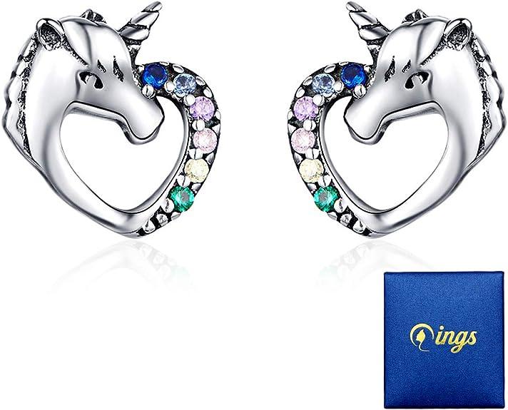 Qings Orecchini Unicorno 925 Sterline D'argento Orecchini ...