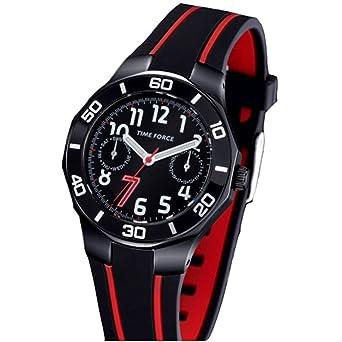 TIME FORCE Reloj De Pulsera Tf-3385B14 Cadete Acero 50M Cristiano Ronaldo Negro/Rojo: Amazon.es: Relojes