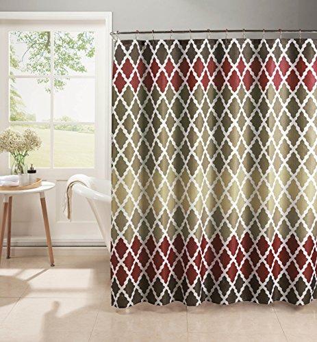 CHI Ideas Creativas Home Diamond Weave Textured - Juego de Cortina de Ducha con Rodillo de Metal y Ganchos, Granero de...