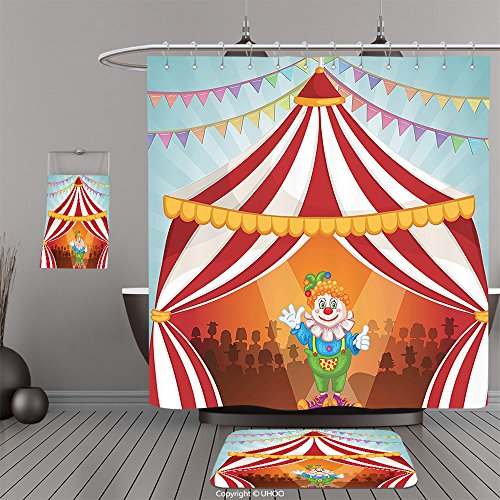 Puggles In Costumes (Uhoo Bathroom Suits & Shower Curtains Floor Mats And Bath TowelsCircus Decor Collection Cartoon Clown in Circus Tent Cheerful Costume Funny Entertainer Joyful Design Red Blue Yellow GreenFor Bathroom)